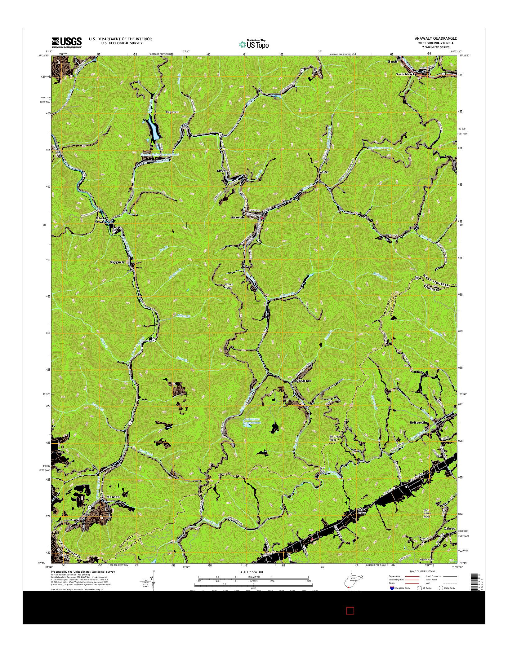 USGS US TOPO 7.5-MINUTE MAP FOR ANAWALT, WV-VA 2016