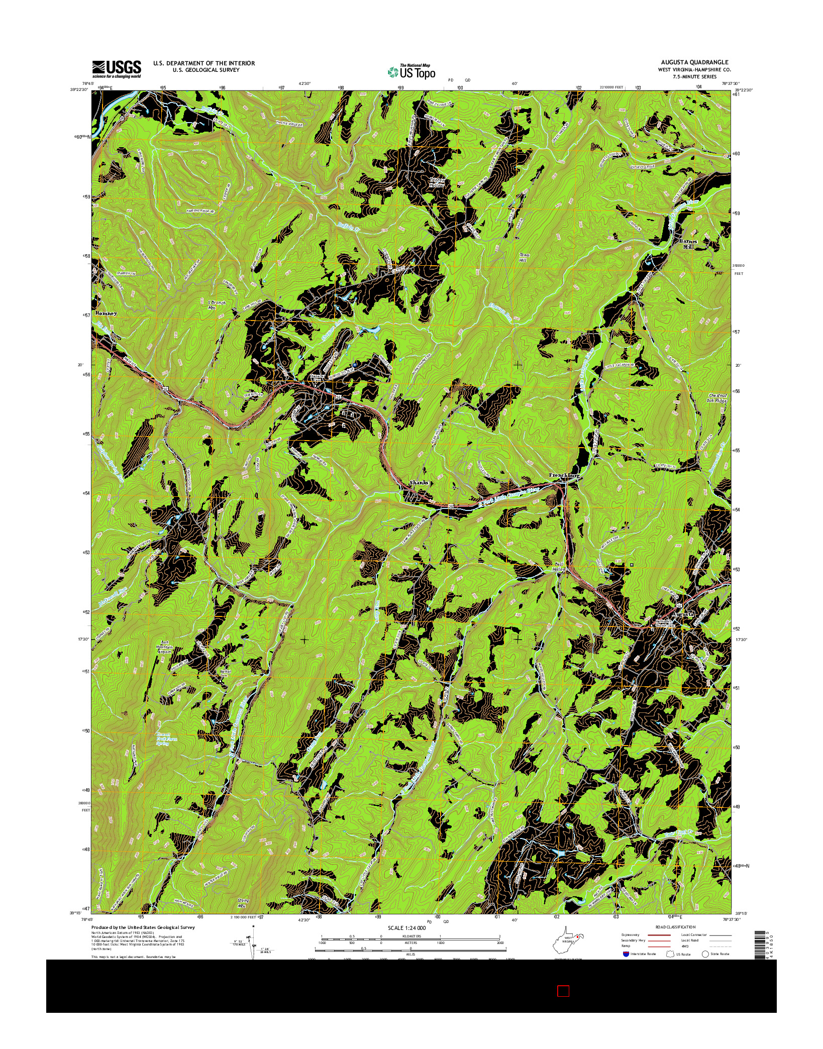 USGS US TOPO 7.5-MINUTE MAP FOR AUGUSTA, WV 2016