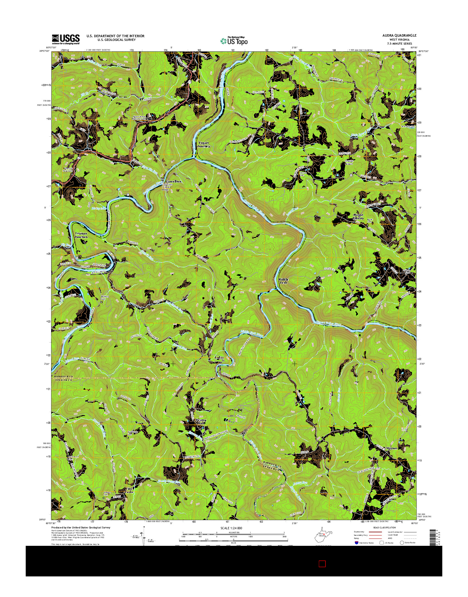 USGS US TOPO 7.5-MINUTE MAP FOR AUDRA, WV 2016