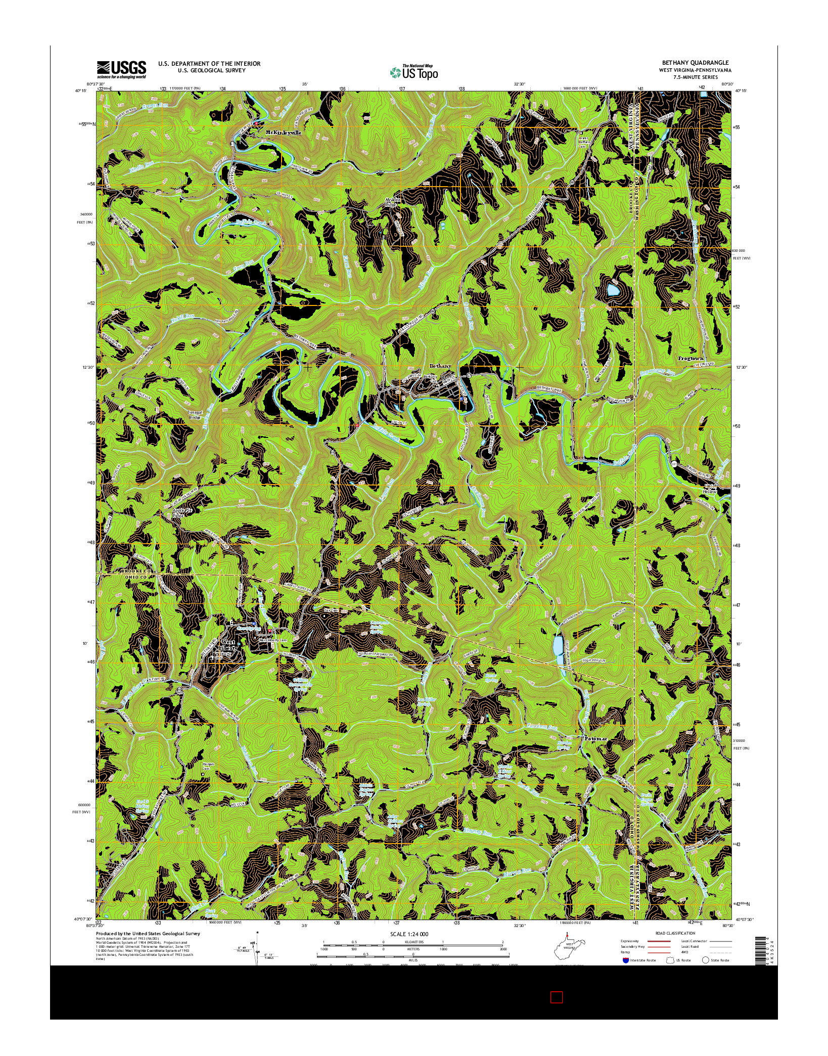 USGS US TOPO 7.5-MINUTE MAP FOR BETHANY, WV-PA 2016