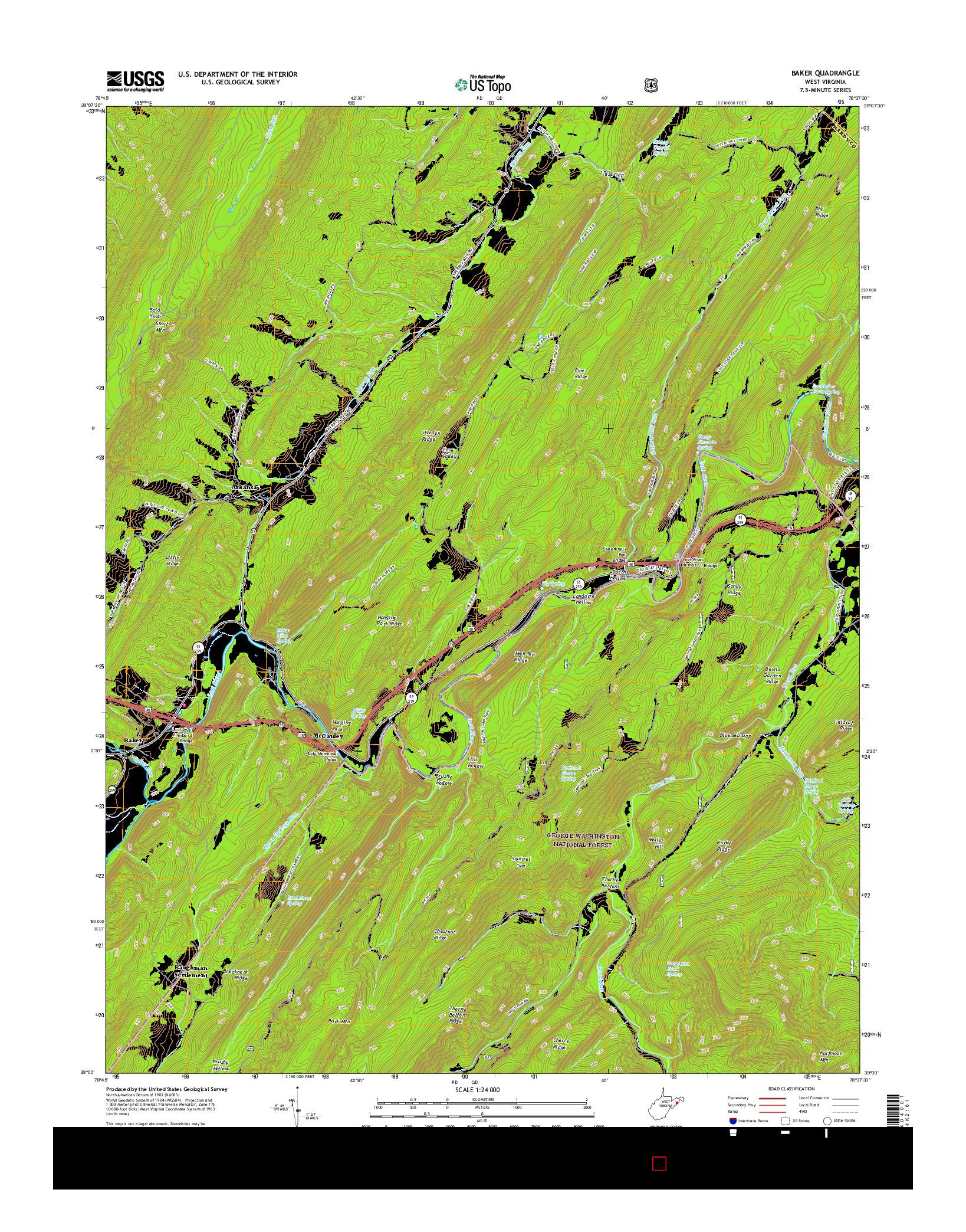USGS US TOPO 7.5-MINUTE MAP FOR BAKER, WV 2016
