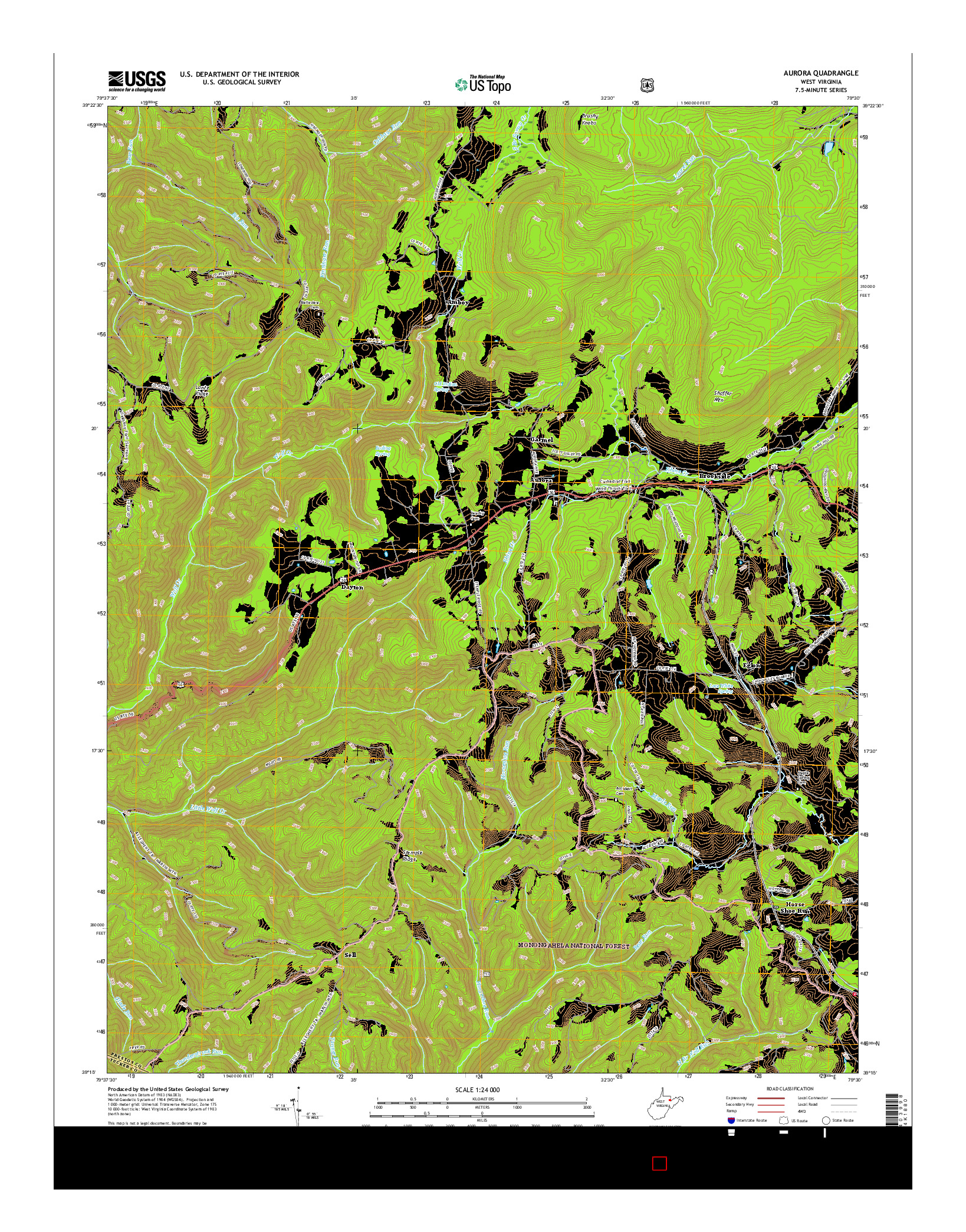 USGS US TOPO 7.5-MINUTE MAP FOR AURORA, WV 2016