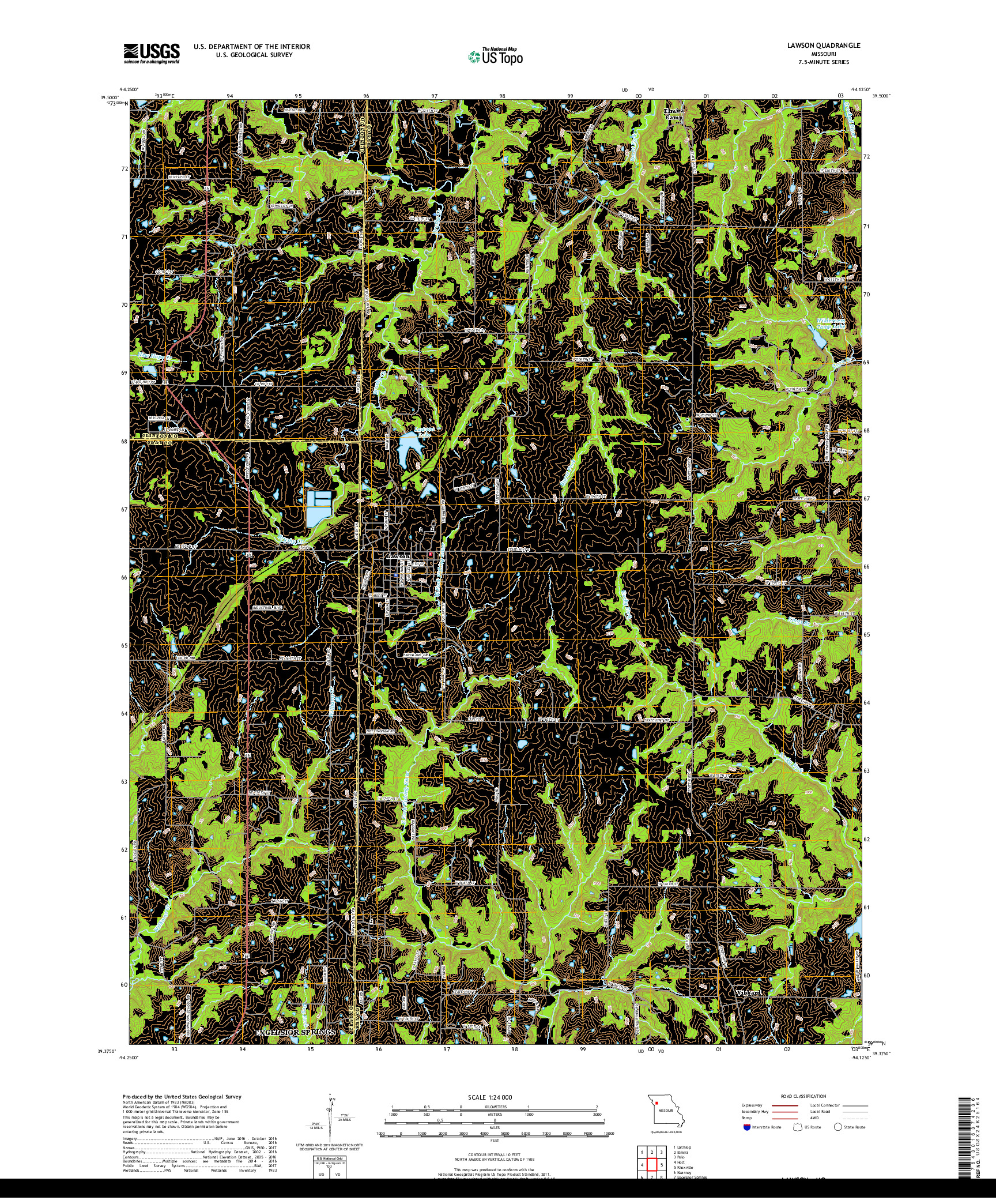USGS US TOPO 7.5-MINUTE MAP FOR LAWSON, MO 2017