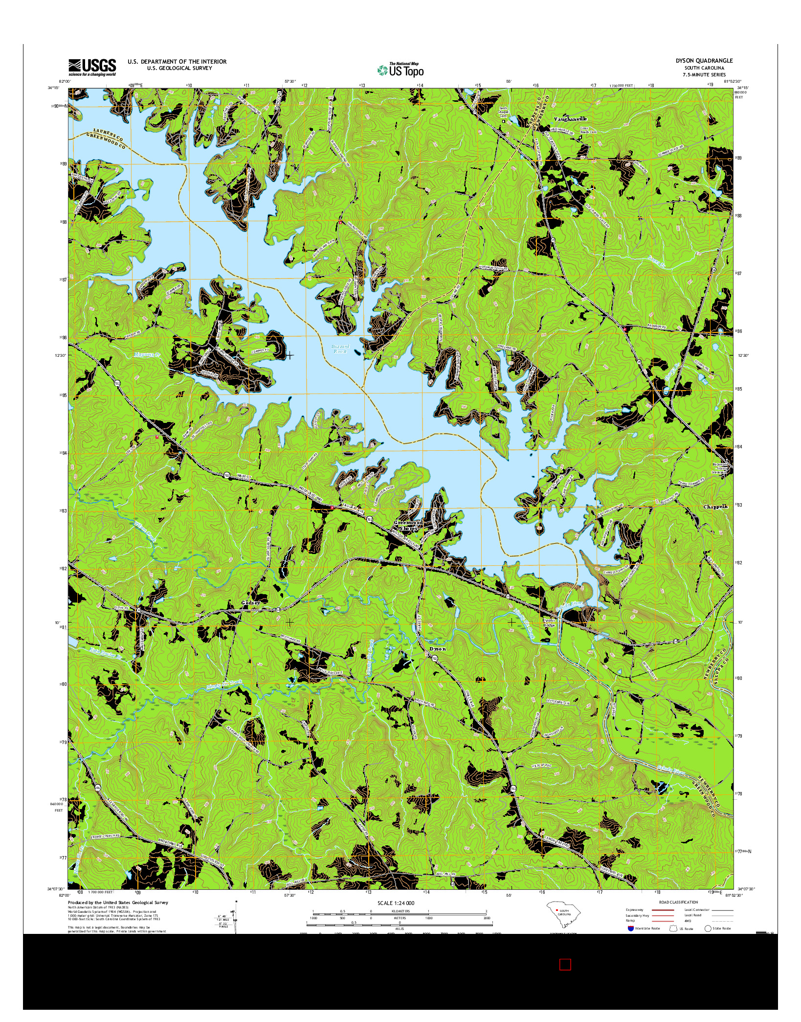 USGS US TOPO 7.5-MINUTE MAP FOR DYSON, SC 2017